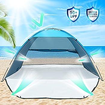 Abosea Tente de Plage, UPF 50+ Auvents pour 3-4 Personnes, Tente de Camping avec Portes Avant et Arrière, Facile à Installer et Portable, pour Camping, Pêche, Pique-Nique (Bleu Clair)