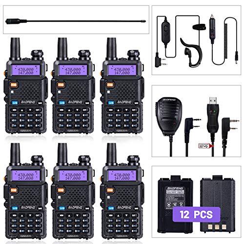 BaoFeng Radio UV-5R Ham Radio (6 Pack) + 1pcs TIDRADIO Driver Free Programming Cable + 6pcs TD-771 Antennas and Radio Mics + 12pcs 1800mAh Batteries BaoFeng Walkie Talkie