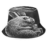 Sombrero de Pesca,Conejito de Pascua de Dibujos Animados en Pizarra Negra,Senderismo para Hombres y Mujeres al Aire Libre Sombrero de Cubo Sombrero para el Sol
