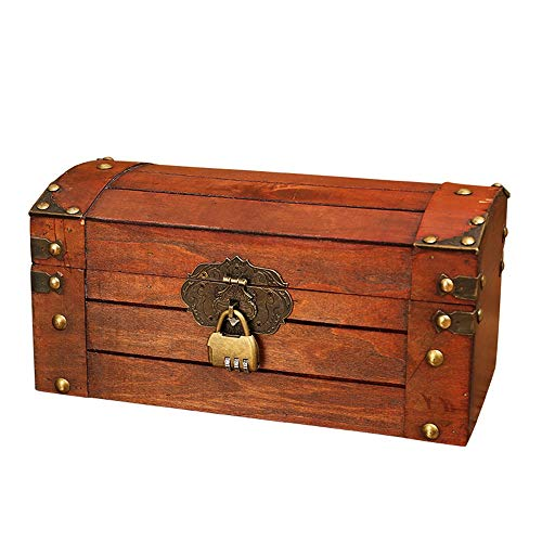 Decorative Storage Wooden Chest Trunk Decorative Treasure Box Wooden Vintage Suitcases Jewelry Boxes Shooting Props Boxes (Color : B, Size : 30x15x15cm)
