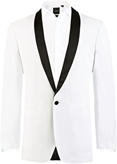Dobell Mens White Tuxedo Dinner Jacket Slim Fit Contrast Shawl Lapel