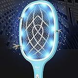 Raquette Électrique à Moustiques 2800mA USB Tapette Anti-moustiques LED insectes Anti-Mouches Exécuteur d'Insectes Volants Anti-moustique Lampe Tueur Permet Se débarrasser moustiques Mouches (Bleu)