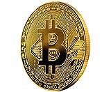 Wepeel - Moneda física de Bitcoin bañada en Oro auténtico de 24K. Incluye Estuche Protector y Pegatina de BTC. Pieza de coleccionista..