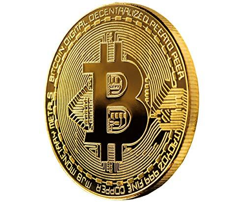 Wepeel - Moneda física de Bitcoin bañada en Oro auténtico de 24K. Una Pieza de coleccionista Que Incluye Estuche Protector y una Pegatina de BTC.