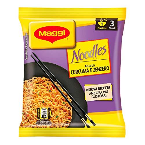 Maggi Noodles Gusto Curcuma e Zenzero Istantanei e Condimento al Gusto Curcuma e Zenzero, 10 Confezioni da 1 Porzione
