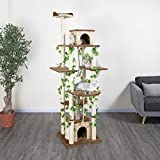 Go Pet Club 85-Inch Cat Tree Condo Scratching Post Furniture, Beige/Brown