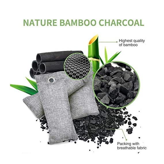 12 pack bamboo charcoal air purifying bag, activated charcoal bags odor absorber, moisture absorber, natural car air… 2 effectively odor absorber: our activated bamboo charcoal carbon adsorption capacity is three times than ordinary carbon, as we added a secondary high-temperature activation process , makes bamboo charcoal bags havehighspecificsurface areaandactivity to quickly eliminate the odor and excess moisture. Charcoal odor eliminator truly absorb bad odors naturally not covering the odor with additives works fast by more charcoal air purifying bag: according to the degree of smell, the amount of air freshener bags can be appropriately increased to speed up the adsorption rate and quickly eliminate odor and smoke. For example, the adsorption rate of 200 grams activated bamboo charcoal is four times faster than 50 grams. We have different packs of air purifying bags to meet all your needs for purifying multi size fit all space: we have three sizes of nature fresh air purifier bags can conveniently put in the place where the odor is and comprehensively remove the odor problem in your life. Perfect as shoe odor eliminator, car air purifier and basement odor eliminator. Meanwhile, the air purifying bag stop odor and damp by absorbing excess moisture, convenient natural odor eliminator for daily use to maintain a fresh environment