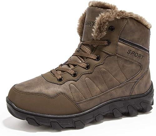 ZHRUI Bottes d'hiver pour Hommes Doublées en Fourrure Bottes Confortables en Cuir véritable (Couleuré   Marron, Taille   EU 41)