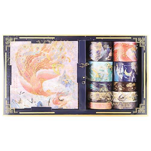 Heyu-Lotus Washi Tape Geschenkbox Set, 10 Rollen Kreative Klebebänder mit 10 Blatt Aufklebern, Dekorative Washi Masking Tapes für DIY Crafts Scrapbooking(Lied vom Pfau)