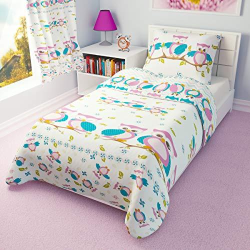Duvet Cover + Pillowcase 120 cm x 150 cm Girls Toddler Bedding Pink Owls 100% Cotton (120x150 cm)