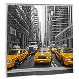 kThrones Duschvorhang,Autos,die auf Verkehr in der New York City Road warten,Wasserdicht Bad Vorhang mit Haken 180cmx180cm