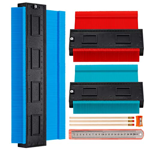 "3 Pieces Contour Gauge, Plastic Outline Profile Shape Contour Duplications Guage Duplicator Kit, Irregular Shapes Measure Ruler Gadget Woodwork Measuring Tool Set for Corners and Contoured(5"" 5"" 10"")"