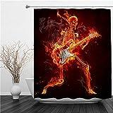 SUHETI Rideau de Douche,Rideau de Douche Tissu,Dead Skeleton Music Halloween Death Zombie Jouant de la Guitare électrique et brûlant du feu,Rideau de Douche Imperméable avec 12 pcs Crochets
