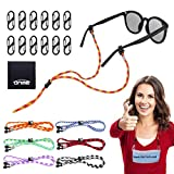 Eyewear retainer, ONME Adjustable Glasses Holder with Mask Lanyards Buckle, Face Lanyards Strap Chain Holder Necklace Lanyard for Face with Clips, 6 Pack Colorful Universal Fit Rope Glasses Straps