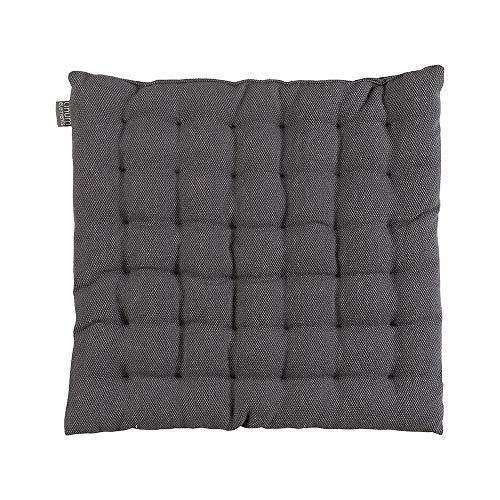 LINUM Pepper Elegantes Sitzkissen für die Stuhl Garten Küche 40cm x 40cm, 100% Baumwolle, Maschinenwaschbar, Granitgrau