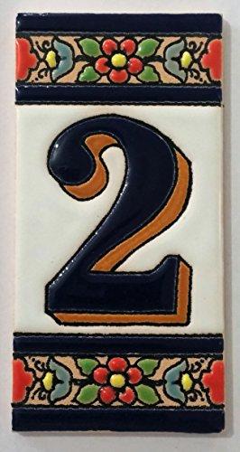 ARTESANÍA ROCA Letras y números de azulejo cerámico. Modelo Flor Azul. Medidas 11cm Altura x 5,5 cm Ancho Made IN Spain (2 NÚMERO)