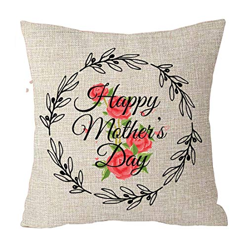 Happy Mothers Day Black Wreath Rose Best Gift Cotton Linen Throw Patio Furniture Pillow Covers Cushion Cover Cover Couch Decorative Square 18x18 inch Decorative Pillow Family Birthday