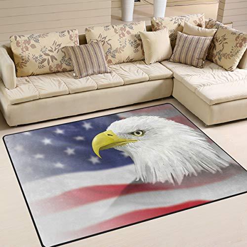 UMIRIKO Alfombra de área para dormitorio, diseño de águila calva, bandera americana, interior, decoración para jardín, oficina, suelo, alfombra antideslizante para cocina, baño, 160 x 122 cm 2020650