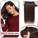 Extension Fil Invisible Cheveux Naturel Epais DOUBLE FIL Transparent a Enfiler Rajout Cheveux Humain Remy Sans Clips (#2 CHATAIN FONCE, 18'/45cm-100g)