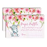 "Watercolor Dahlia Floral Elephant-Themed Diaper Raffle Tickets for Girl Baby Showers, 20 2' X 3"" Double Sided Insert Cards for Games by AmandaCreation, Bring a Pack of Diapers to Win Favors & Prizes!"