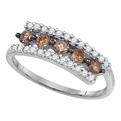 Sonia Jewels Size 9-10K White Gold Chocolate Brown & White Round Diamond Fashion Ring - Channel Setting (.62 cttw.)