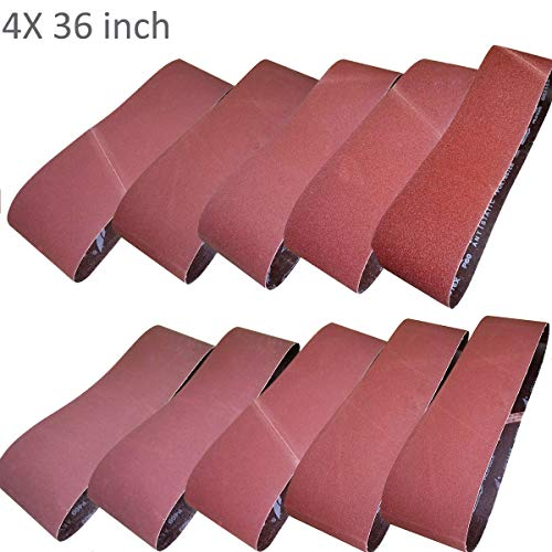 Sackorange 10 PCS Sanding Belts 4-Inch x 36-Inch 60 80 100 120 150 180 240 320 400 and 600 Grit Aluminum Oxide Sanding Belts For Belt Sander (4x36in)