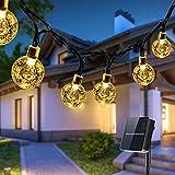 Guirnaldas Luces Exterior Solar, Qxmcov 14M Total de 80 LED Cadena de Bola Cristal Luz, IP65 Lmpermeable, Guirnalda Solar LED Bola de Cristal Luces Decoracion para Hogar, Jardín, Arboles, Patio, Bodas