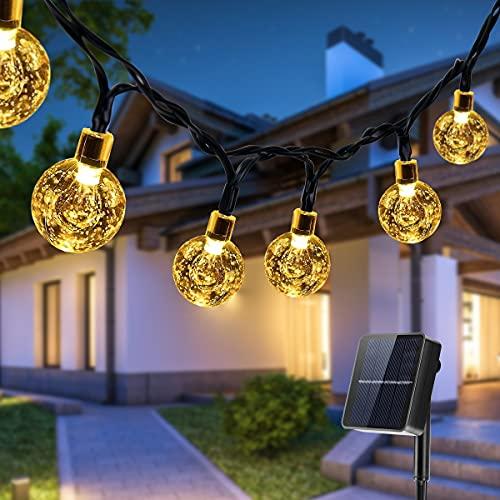 Solar Lichterkette Außen, Qxmcov 14 Meter Solar Kristallkugeln Lichterkette mit 80 LED Kristallkugeln 8 Modi, Wasserdicht Lichterkette für Garten, Bäume, Terrasse, Hochzeiten, Partys (Warmweiß)