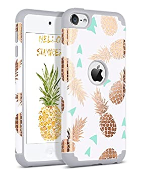 BENTOBEN iPod Touch 7 2019 Case iPod Touch 6 Case iPod Touch 5 Case Hybrid Hard PC Cover Soft Silicone Bumper Pineapple Heavy Duty Protective Case for iPod Touch 7th/6th/5th Generation White/Grey