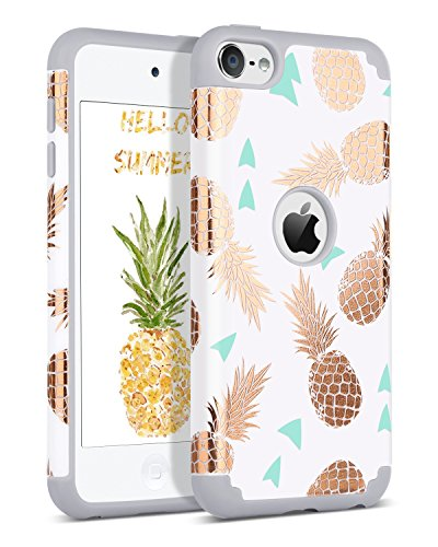 BENTOBEN iPod Touch 7 2019 Case, iPod Touch 6 Case, iPod Touch 5 Case, Hybrid Hard PC Cover Soft Silicone Bumper Pineapple Heavy Duty Protective Case for iPod Touch 7th/6th/5th Generation, White/Grey