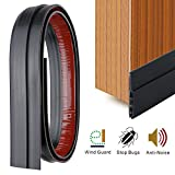 YOUSHARES Draught Excluder for Bottom of Door, Weather Stripping Door Draft Excluder Self Adhesive Door Draft Sweep Seal for Soundproof (Black)