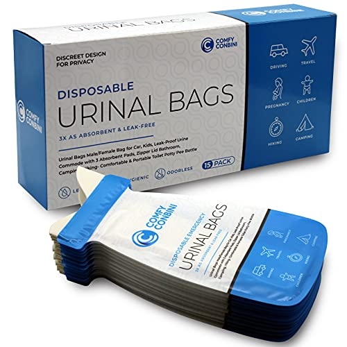 Comfy Conbini 15 Pcs Urinal Bags Male Female Bag for Car, Kids, Leak-Proof Urine Commode with 3 Absorbent Pads, Zipper Lid Bathroom, Camping, Hiking- Comfortable & Portable Toilet Potty Pee Bottle