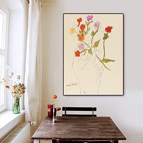 Flduod ANDY WARHOL Een Gouden Boek Muur Poster Art Print Canvas Muur Foto Moderne Bloem In Hand Schilderij voor Huisdecoratie 40x50cm
