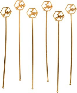 Andaz Press Rose Gold Copper Long Drink Stirrers, 7-Inch Metallic Rose Gold Love Plastic Disposable Cocktail Swizzle Sticks in Bulk 48 Pack for Wedding, Engagement, Bridal Shower, Christmas Party