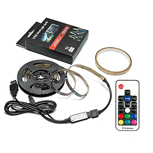 Bias Lighting for HDTV (78.7in / 2m) with Remote Control - EveShine Multi-Color RGB TV LED Backlight Strip Lighting Kit for Flat Screen TV LCD, Desktop Monitors - Fits Any TV Size Up to 60'' - Black