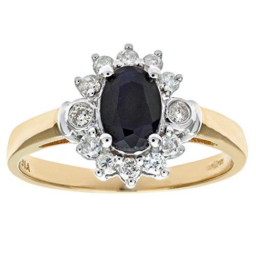 Revoni - 9 Karat Gelbgold-Saphirring mit Diamanten, Traubenform