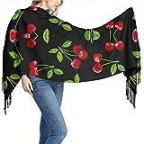 Sweet-Heart Fondo de cerezo negro Bufandas de mantón de cachemira para mujer Bufandas para mujer Bufandas envueltas Bufanda suave 77 'X 26'