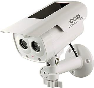 防犯ダミーカメラ 人感検知ソーラーバッテリー付 (OS-173F) アイボリー LEDライトが自動で発光 人感センサー 防雨タイプ