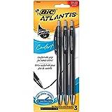 BIC Atlantis Comfort Retractable Ball Pen, Medium Point (1.0mm), Black, 3-Count