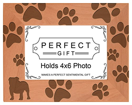 Gifts For All By Rachel Olevia Dog Lover Gift Bulldog Silhouette Paw Prints Natural Wood Engraved 4x6 Landscape Picture Frame Wood