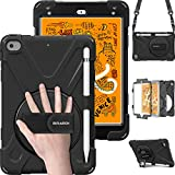 BRAECN iPad Mini 5 Case,iPad Mini 4 Case, Heavy Duty Shockproof Protective Rugged Case with Pencil Holder,Hand Strap,Kickstand, Shoulder Strap for iPad Mini 5th/4th Generation 7.9 Inch for Kids-Black