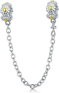 1ace86388f146d Yellow Daisy 100% 925 sterling Silver impilabile margherita fiore catena di  sicurezza stopper charm braccialetto