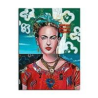 リビングルームキッチンベッドルームのホームインテリアポスター、フレームレスのためにグラフィティアートピクチャーHDプリント絵画フリーダ・カーロの自画像のホームインテリアキャンバス,50×70cm