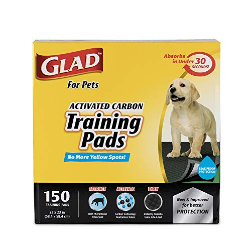 Glad for Pets Black Charcoal Puppy Pads | Puppy Potty Training Pads That ABSORB & NEUTRALIZE Urine Instantly | New & Improved Quality Puppy Pee Pads, 150 count