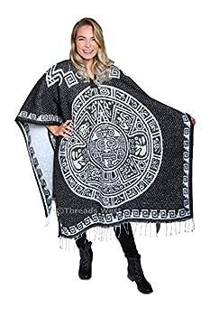 threads west Authentic Mexican Poncho Reversible Cobija Blanket - Aztec Calendar Black Elegant