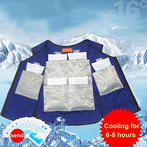 Yunhigh Neue Sommer Kühlweste für Männer und Frauen, Kühljacke mit Eisbeutel Einstellbare Taille Hohe Temperatur Sonnenstich Schutzkleidung für Arbeiter Outdoor Motorrad Fahrrad Laufen - 2