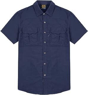 Men Fishing Shirt Quick Dry Classic Shirt Button Down Short Sleeve Casual Shirt