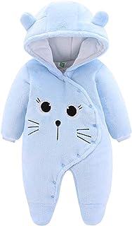 JiAmy Bébé Combinaison de Neige Polaire Barboteuse à Capuche Hiver Tenues à Manches Longues Bleu 6-9 Mois