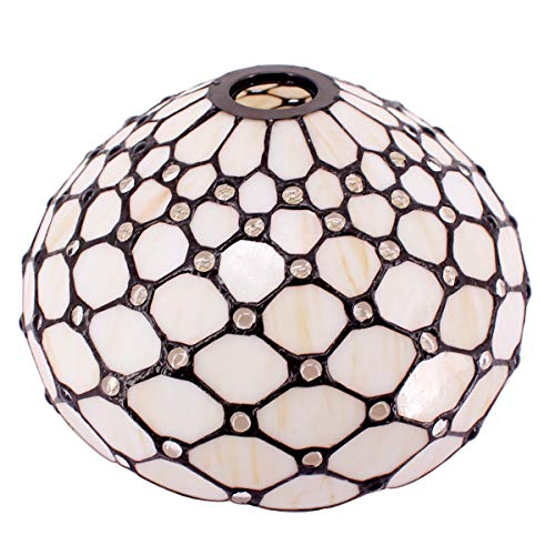Tiffany S00512Q - Pantalla de repuesto para lámpara de pie, lámpara de techo, lámpara colgante de libélula de cristal ámbar, agujero central de 4,2 cm