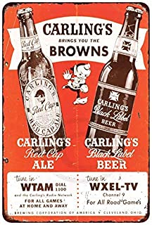 Jesiceny New Tin Sign Carlings Beer Cleveland Browns Vintage Aluminum Metal Sign 8x12 Inches